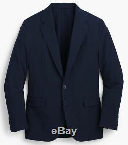 J. CREW Ludlow 40R seersucker blazer navy blue suit jacket cotton slim-fit 40 R