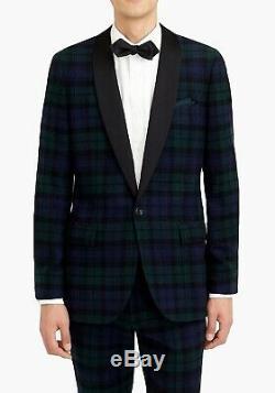J. CREW Ludlow Tartan tuxedo shawl collar plaid slim fit 40S blazer suit jacket