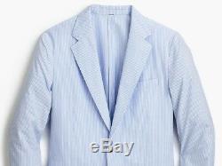 J. CREW Ludlow seersucker blazer blue white stripe suit jacket slim-fit 34S 34 S