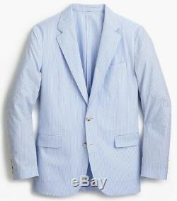 J. CREW Ludlow seersucker blazer blue white stripe suit jacket slim-fit 42R 42 R