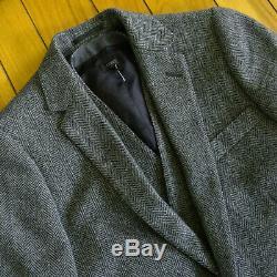 J CREW Mens Ludlow Slim Fit Herringbone Wool Tweed Blazer Sport Coat + Vest 36S