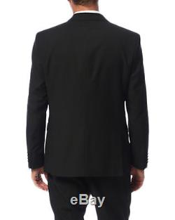 Kenneth Cole New York Slim Fit Solid Black Two Button Wool Tuxedo Suit