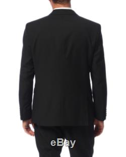 Kenneth Cole Slim Fit Solid Black Two Button Tuxedo Suit With Satin Lapels