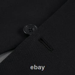 Kiton Slim-Fit Solid Black Mid-Weight Cotton Suit with Flat-Front Pants 46R