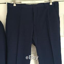 LBM 1911 Lubiam Men's Dandy Ltd Edition Mid Blue Slim Fit Cotton Suit Eu 52 New