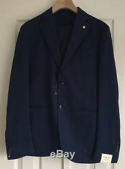 LBM 1911 Lubiam Men's Dandy Ltd Edition Mid Blue Slim Fit Cotton Suit Eu 54 New