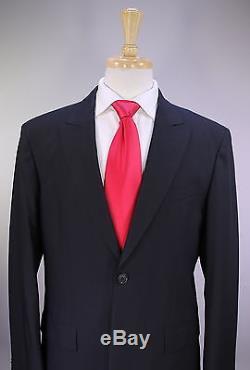 LOUIS VUITTON Uniformes Solid Black Slim Fit 2-Btn Wool Peak Lapel Suit 42R