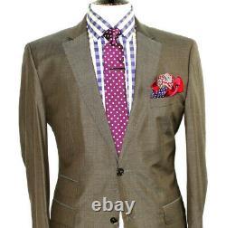 Luxury Gorgeous Mens Hugo Boss Italian Taupe 2 Piece Slim Fit Suit 40r W34 X L32