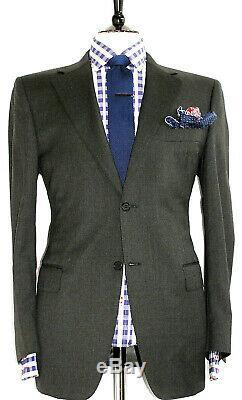 Luxury Mens Canali Plain Charcoal Grey Slim Fit Suit 42r W36 X L32