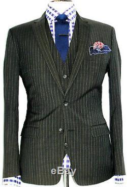 Luxury Mens D&g Dolce & Gabbana Chalkstripe Slim Fit 3 Piece Suit 40s W34 X L30