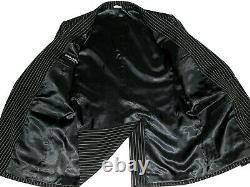 Luxury Mens Dolce & Gabbana D&g Black Pinstripe Slim Fit 3 Piece Suit 40r W34