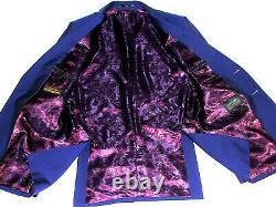 Luxury Mens Duchamp London Royal Purple/ Blue Slim Fit Suit 40r W34 X L32