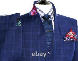 Luxury Mens Gieves & Hawkes Savile Row Navy 3 Piece Slim Fit Suit 44r W38 X L31