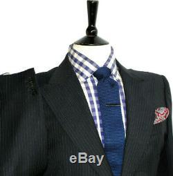 Luxury Mens Gucci Tom Ford Navy Pinstripe 2 Piece Slim Fit Suit 40r W34 X L32