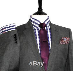 Luxury Mens Hackett London Sharkskin Charcoal Grey Slim Fit Suit 38r W32 X 29l