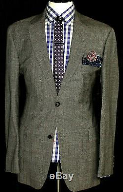 Luxury Mens Hugo Boss Grey Brown Prince Of Wales Check Slim Fit Suit 42r W36 L32