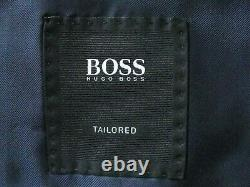 Luxury Mens Hugo Boss Italian Navy Textured 3 Piece Slim Fit Suit 42r W36 X L32