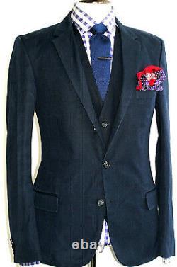 Luxury Mens Hugo Boss Navy Cotton 3 Piece Slim Fit Suit 40r W34 X L32