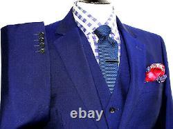 Luxury Mens Jaeger London Royal Blue 3 Piece Slim Fit Suit 40r W34 X L32