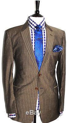Luxury Mens Paul Smith London Brown Chalkstripe Slim Fit Suit 40r W34 X L32