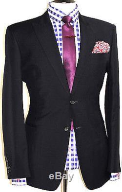 Luxury Mens Reiss London Black Slim Fit 2 Piece Fitted Suit 40r W34 X L32