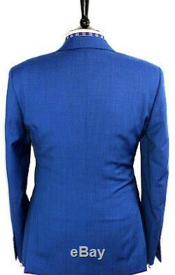 Luxury Mens Reiss London Petrol Blue 3 Piece Slim Fit Suit 42r W36 X L32