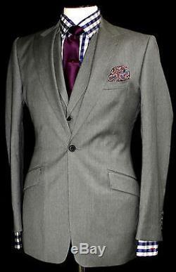 Luxury Mens Reiss London Plain Grey Slim Fit 3 Piece Fitted Suit 38r W32 X L32