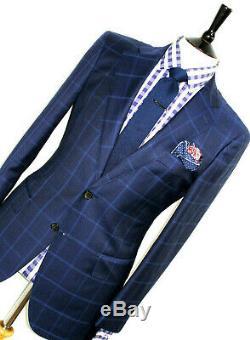 Luxury Mens Suitsupply Italian Blue Box Check Slim Fit Suit 40r W34 X L31