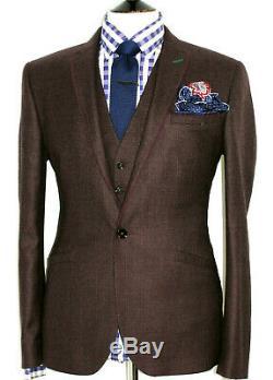 Luxury Mens Ted Baker London Burgundy Check Slim Fit Suit Jacket & Waistcoat 40r