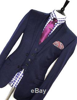 Luxury Mens Ted Baker London Textured Navy Slim Fit 3 Piece Suit 38r W32 X L32