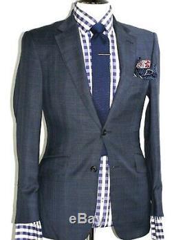 Luxury Mens Thom Sweeney London Navy Box Check Slim Fit Suit 36s W30 X L30