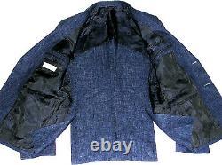 Luxury Mens Versace Collection Denim Look Linen Slim Fit Suit 38r W32 X L32