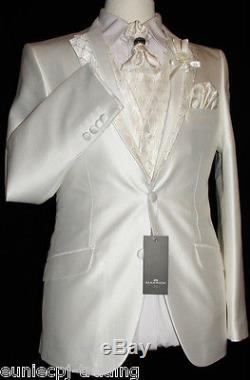 Mens New 5 Pce Cream Wedding/party Slim-fit Single Breasted Designer Suit 40 W34