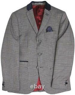 Madcap England 1960's Mod Suit Grey Check Velvet Collar Slim Fit 42R W38 L31