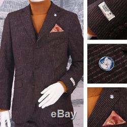 Maddox Street Slim Fit Three Button 3 Piece Mod Chalk Stripe Suit Burgundy