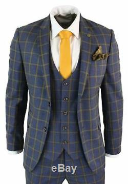 Men 3 Piece Blue Gold Slim Fit Prince Wales Check Suit Marc Darcy Wedding Prom