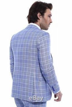 Men 3pc Vested Suit European WESSI, J. VALINTIN Slim Fit 132-21 English Plaid Blue