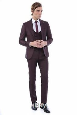 Men 3pc Vested Suit European Wessi J. Valintin European Slim Fit 127-80 Burgundy