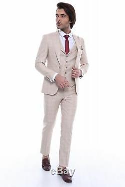 Men 3pc Vested Suit Turkey WESSI, J. VALINTIN Slim Fit 132-53 English Plaid Beige