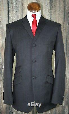 Men Charcoal Red Pinstripe Mod Skinhead 3 Button Suit slim fitting SIZE 36 TO 50