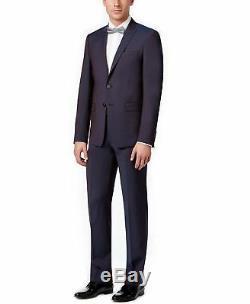 Men Dress 2 Piece Suit Slim Fit Calvin Klein 100% Wool Peak Lapel Wine 0694