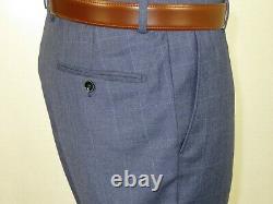Men Suit By Renoir Windowpane English Plaid Slim Fit Side Vents Fit 2108-2 Blue