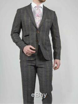 Men's 3 Piece Grey Slim Fit Check Tweed Suit Clearance