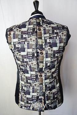 Men's Blue Ben Sherman Checked Slim Fit Suit 36 38 40 42 44 VB96