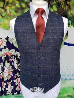 Men's Cavani Miles 3 Piece Blue Check Tweed Slim Fit Suit Perfect For Weddings