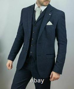 Men's Cavani Peaky Blinders Tweed Check Herringbone Wedding Fitted 3 Piece Suit