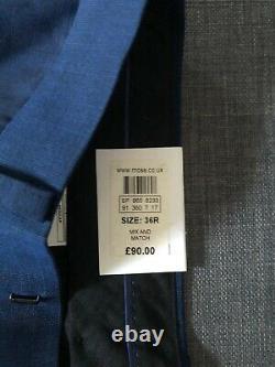 Men's French Connection Suit 42R Blue Slim Fit Jacket Trousers 36R Waistcoat 40R