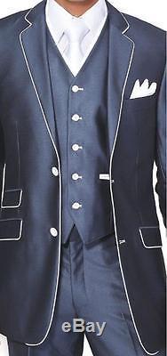 Men's Luxurious 3pc Slim Fit Wool Feel Suit Set Color Navy Size 38R56L