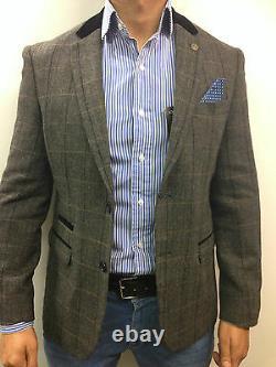 Men's Marc Darcy Tweed Herringbone Vintage Jacket Checked Blazer Peaky Blinder