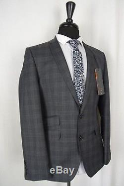 Men's New Ben Sherman Super Slim Fit Grey Checked Suit 38R W32 L31 AA484
